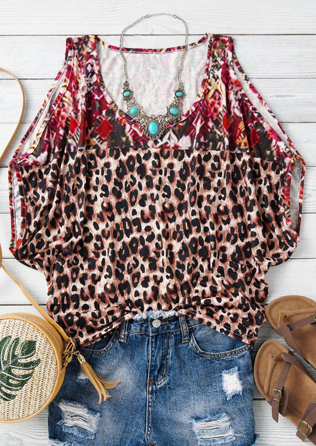 Floral Leopard Splicing Cold Shoulder Blouse