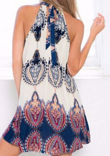 Printed Tie Sleeveless Mini Dress