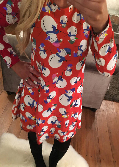 Christmas Foil Sparkle Snowman Printed Dress