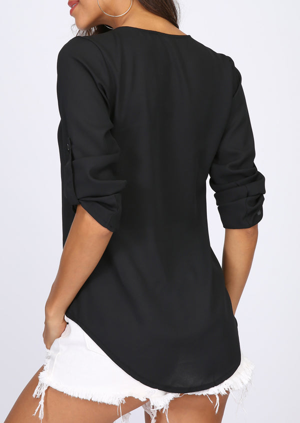 Solid Front Zipper Tab-Sleeve Blouse