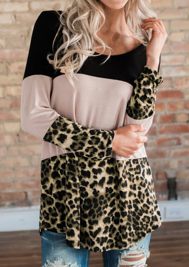 Color Block Leopard Printed Back Button Blouse