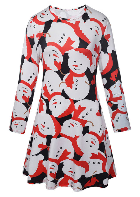 Christmas Snowman Printed Casual Dress