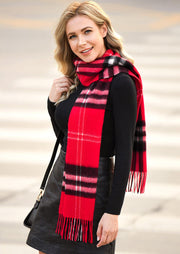Feelily Plaid Tartan Tassel Soft Classic 100% Wool Scarf