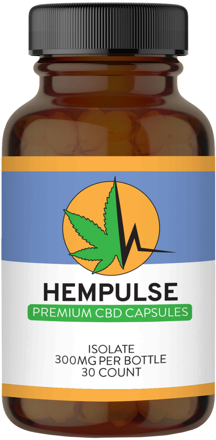 Hempulse premium 10mg isolate CBD gel caps for relief of pain, inflammation, anxiety, and stress