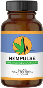 Hempulse premium 25mg isolate CBD gel caps for relief of pain, inflammation, anxiety, and stress