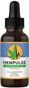 Hempulse premium 1000mg full-spectrum CBD oil for relief of pain, inflammation, stress, and anxiety