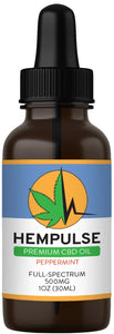Hempulse premium 500mg full-spectrum CBD oil for relief of pain, inflammation, stress, and anxiety