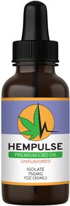 Hempulse premium 750mg isolate CBD oil for relief of pain, inflammation, stress, and anxiety