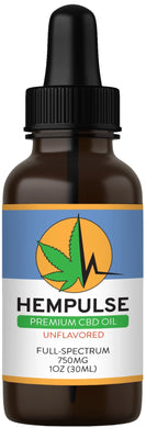 Hempulse premium 750mg full-spectrum CBD oil for relief of pain, inflammation, stress, and anxiety