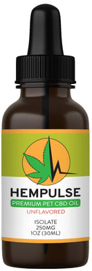 Hempulse premium 250mg isolate CBD oil for relief of pain, inflammation, stress, and anxiety in smaller pets