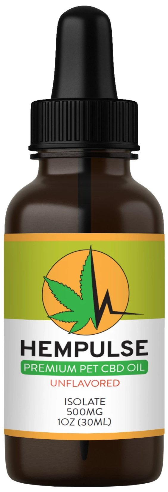 Hempulse premium 500mg isolate CBD oil for relief of pain, inflammation, stress, and anxiety in larger pets