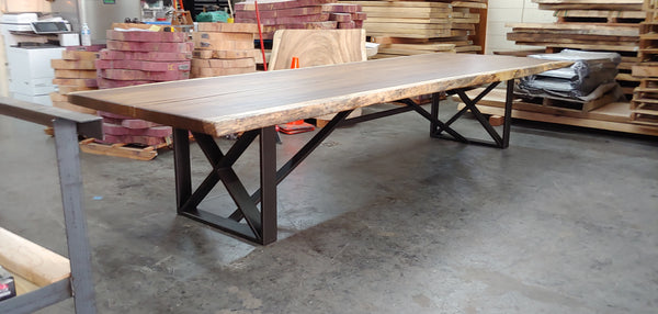parota live edge dining table, x squared table base