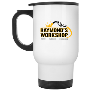 Raymond's Workshop White Travel Mug