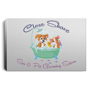 Close Shave Pet Grooming Landscape Canvas .75in Frame