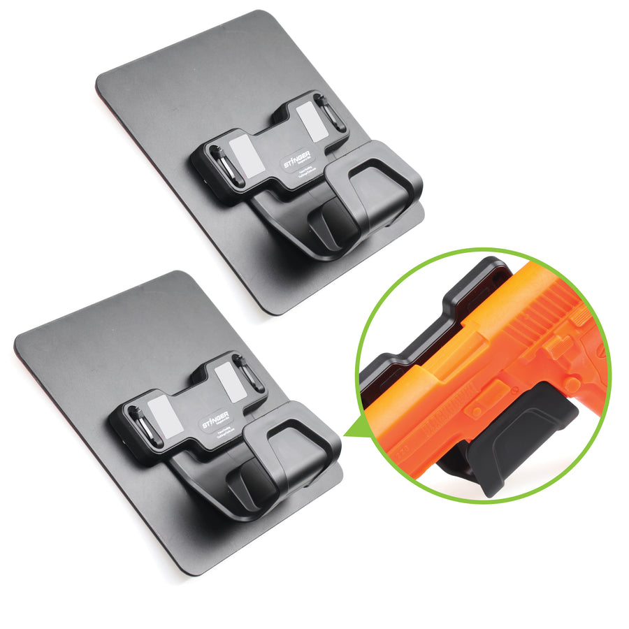 Stinger Magnetic Gun Mount with Safety Trigger Guard Protection, Heavy Duty Sticky Pad Non-Drill Solution (1 Set, 2pcs bundle pack)