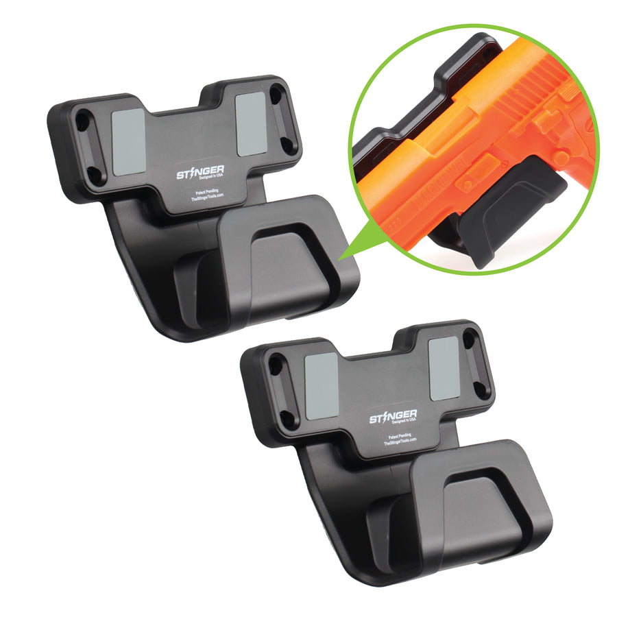 Stinger Magnetic Gun Mount with Safety Trigger Guard Protection (1 Set, 2pcs bundle pack)