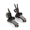 Gloss Tungsten Grey Color Novelty Finger Iron Sight Set - Offset 45 Degree (V Hand & Thumbs Up)