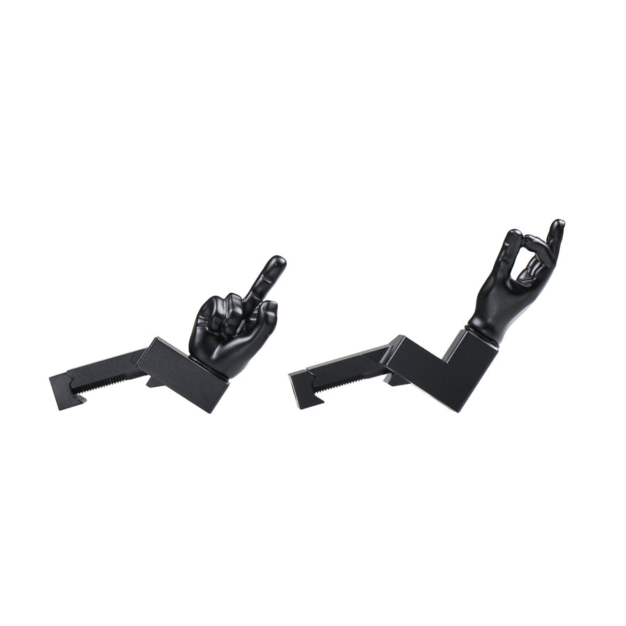 Black Color Novelty Finger Iron Sight Set - Offset 45 Degree (Middle Finger & OK Hand)