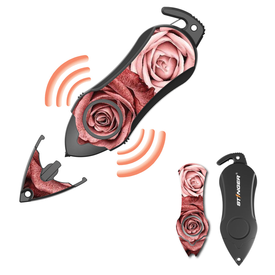 Personal Alarm Emergency Tool: Safety Alarm, Seat Belt Cutter, Glass Breaker (Twin Rose)