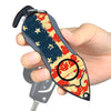 Personal Alarm Emergency Tool: Safety Alarm, Seat Belt Cutter, Glass Breaker (USA Flag)