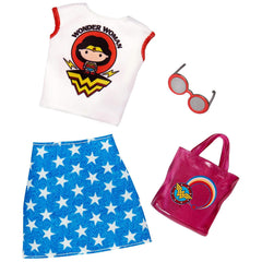 Barbie Wonder Woman Tee Shirt Skirt Outfit Accessory Set