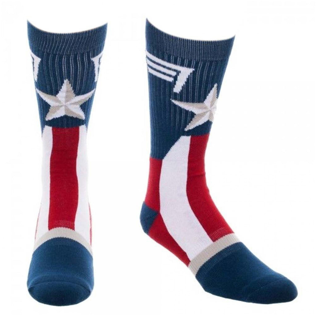 Bioworld Marvel Captain America Knit Suitup Single Pair Crew Socks