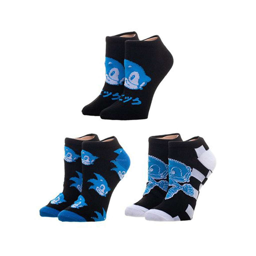 Bioworld Sonic The Hedgehog Classic 3 Pairs Ankle Socks