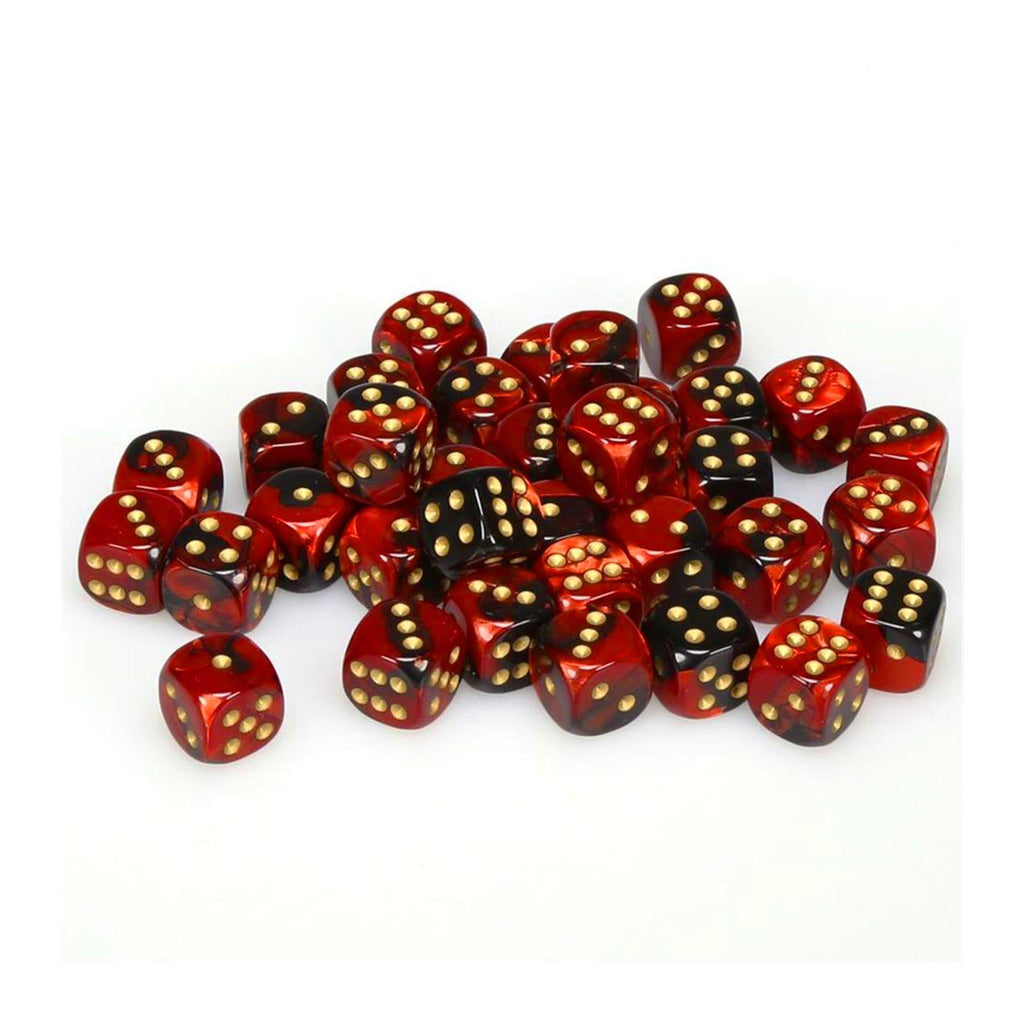 Chessex 12mm D6 Set Dice 36 Count Gemini Black-Red/Gold CHX 26833