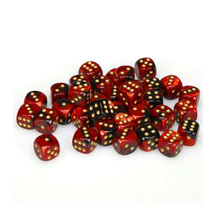 Board Games - Chessex 12mm D6 Set Dice 36 Count Gemini Black-Red/Gold CHX 26833