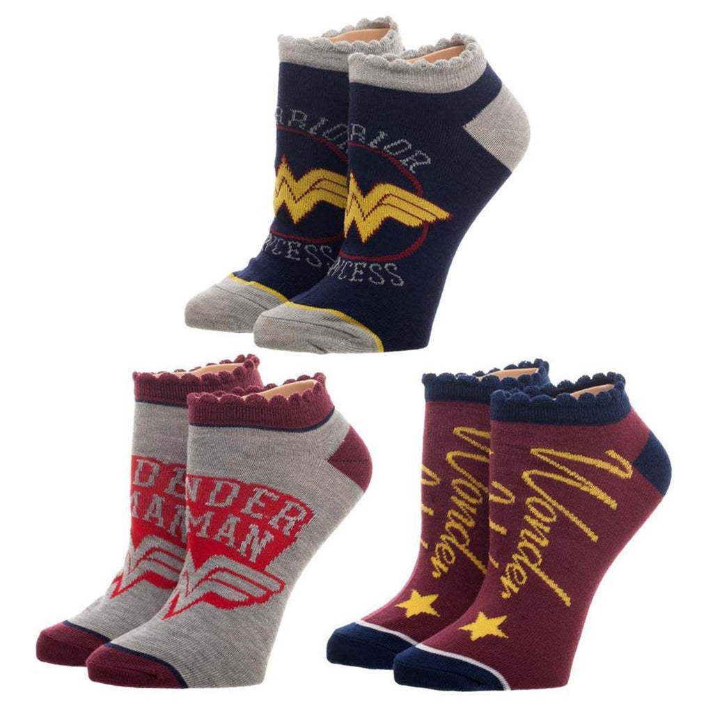 DC Wonder Woman Junior Logo 3 Pairs Of Ankle Socks
