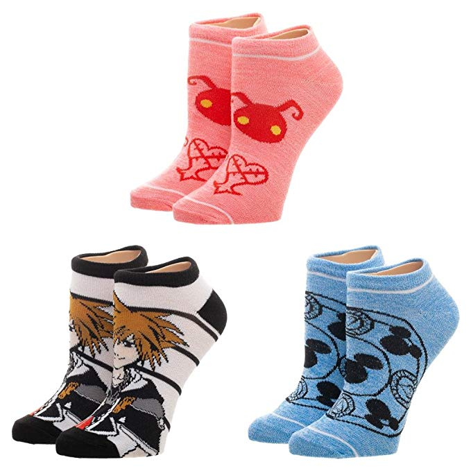 Disney Kingdom Hearts Hearts 3 Pairs Of Ankle Socks