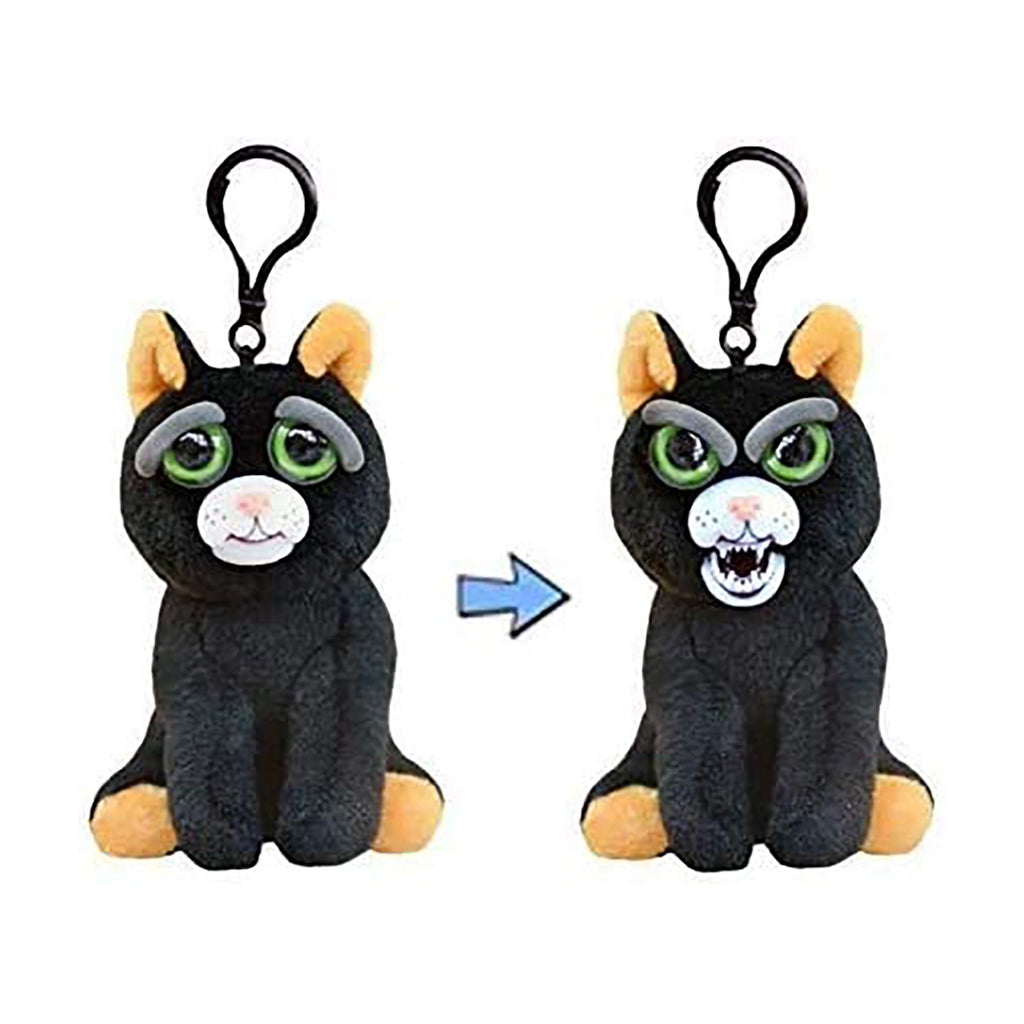Feisty Pets Mini Black Cat Katy Cobweb 4.5 Inch Plush Clip