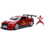 Jada Toys Power Rangers Red Ranger 2009 Nissan GT-R R35 Diecast Car