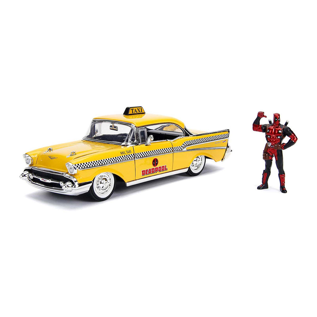 Jada Toys Hollywood Rides Deadpool Taxi 57' Chevy Metals Die Cast Set