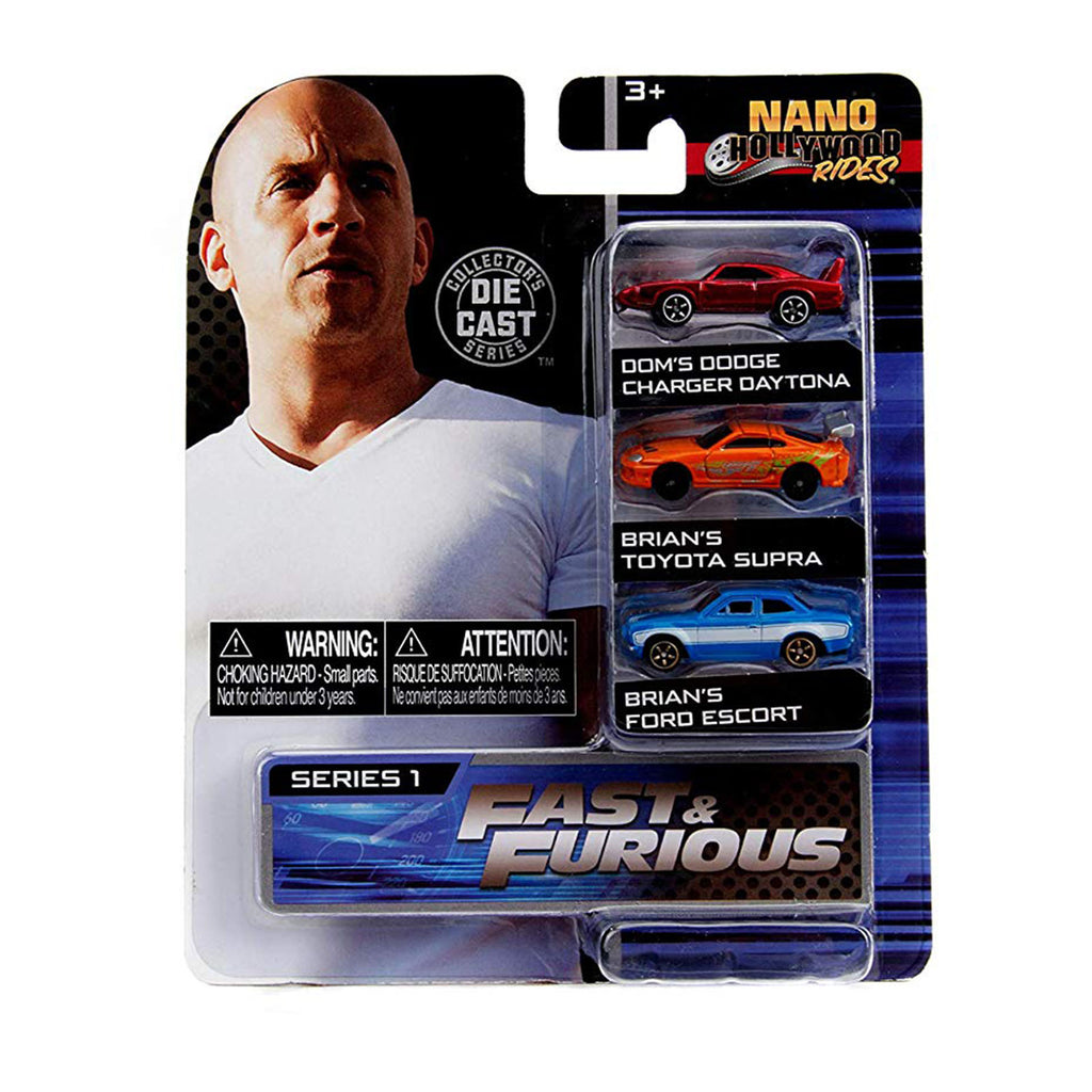 Jada Toys Nano Hollywood Rides Series 1 Fast And Furious 3 Pack Set