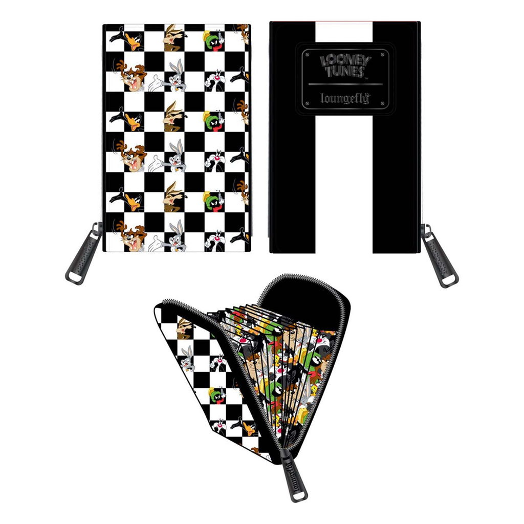 Loungefly Looney Tunes Black And White Checkered Character Accordion Cardholder Wallet