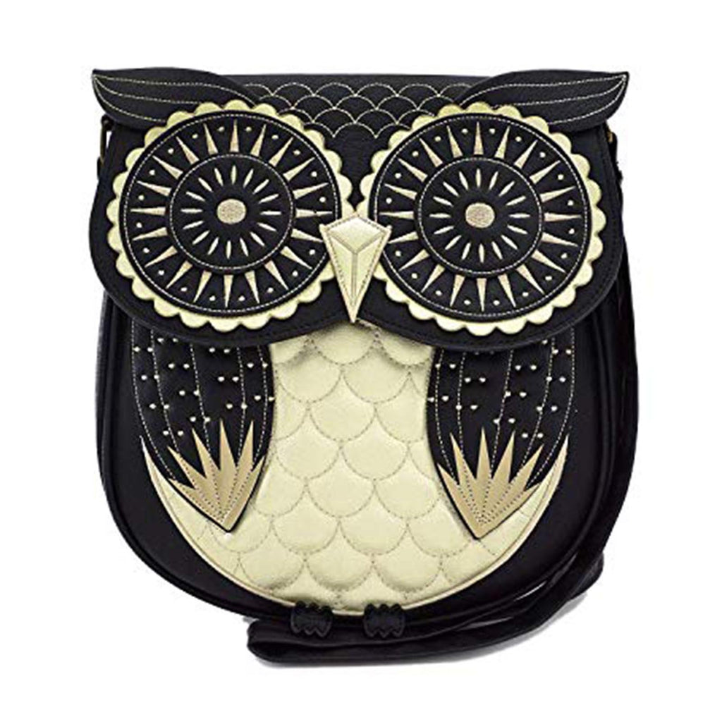 Loungefly Black Gold Owl Crossbody Bag Purse