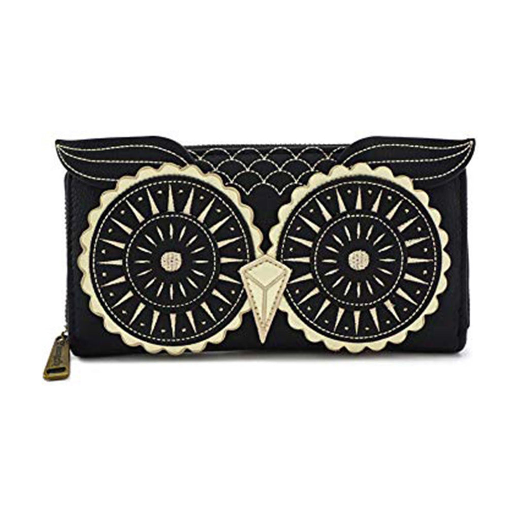 Loungefly Black Gold Owl Zip Around Wallet