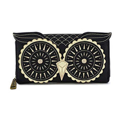 Wallets - Loungefly Black Gold Owl Zip Around Wallet