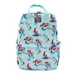 Loungefly Disney Little Mermaid Ariel Scenes All Over Print Square Nylon Backpack