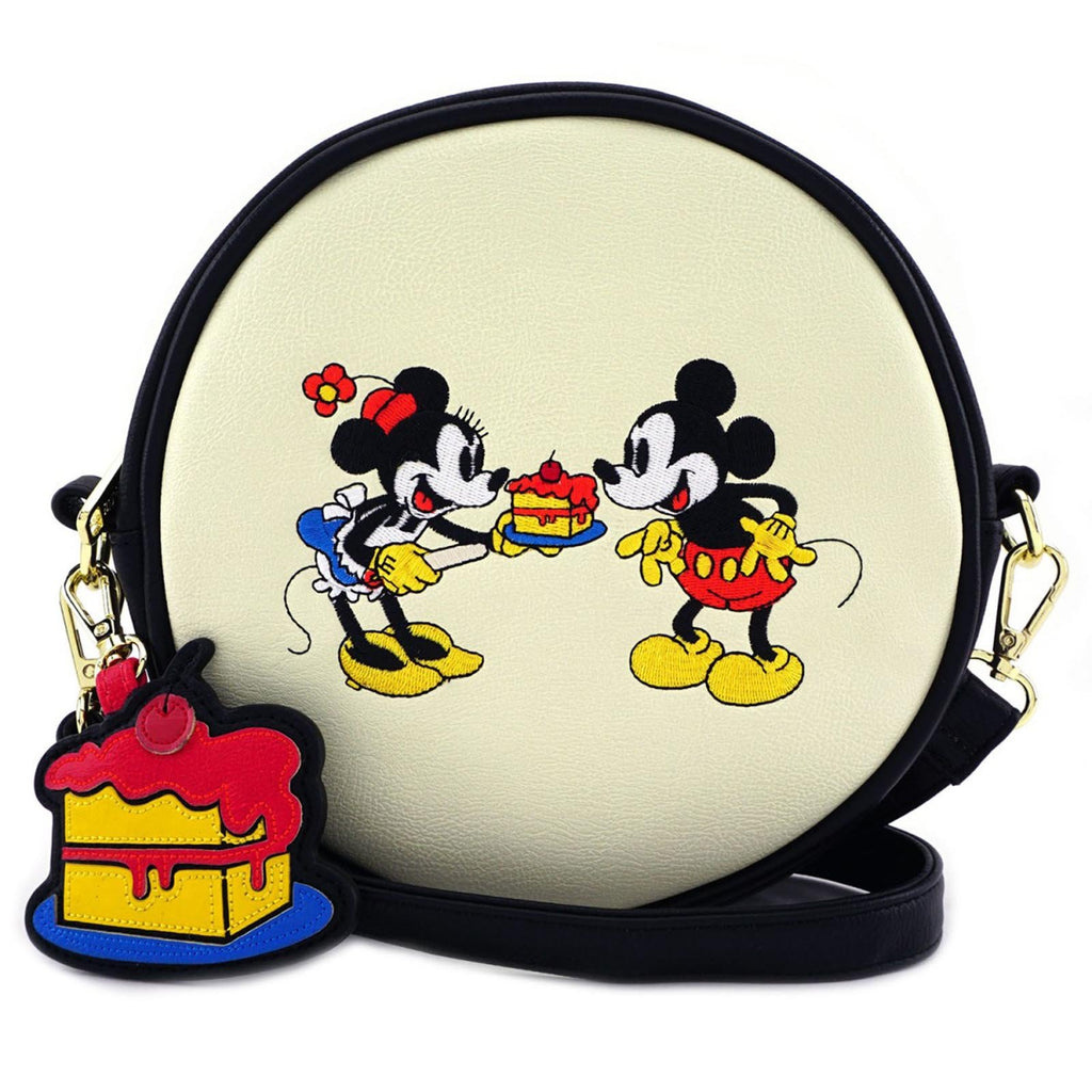 Loungefly Disney Minnie And Mickey Cake Circle Crossbody Bag