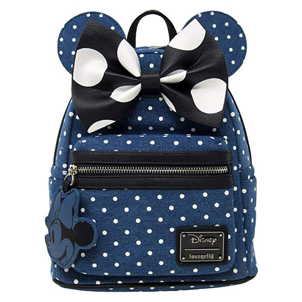 Loungefly Disney Minnie Mouse Denim Polka Dot Mini Backpack
