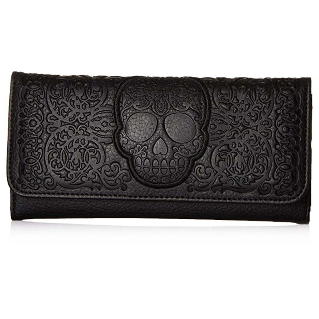 Loungefly Lattice Skull Black Tri-Fold Wallet