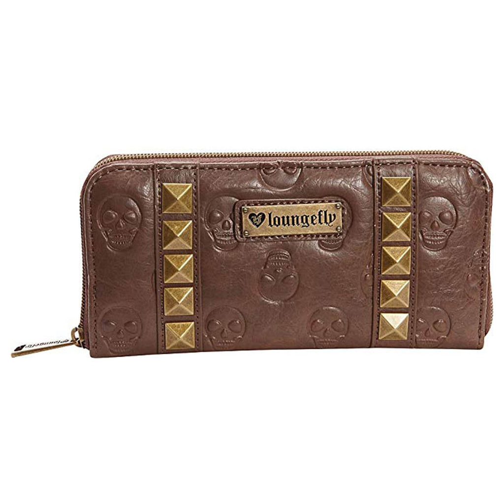Loungefly Skull Brown Pyramids Zip Around Wallet