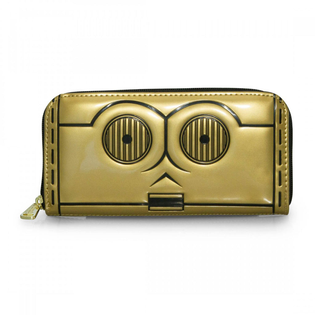 Loungefly Star Wars C-3PO Face Gold Zip Around Wallet