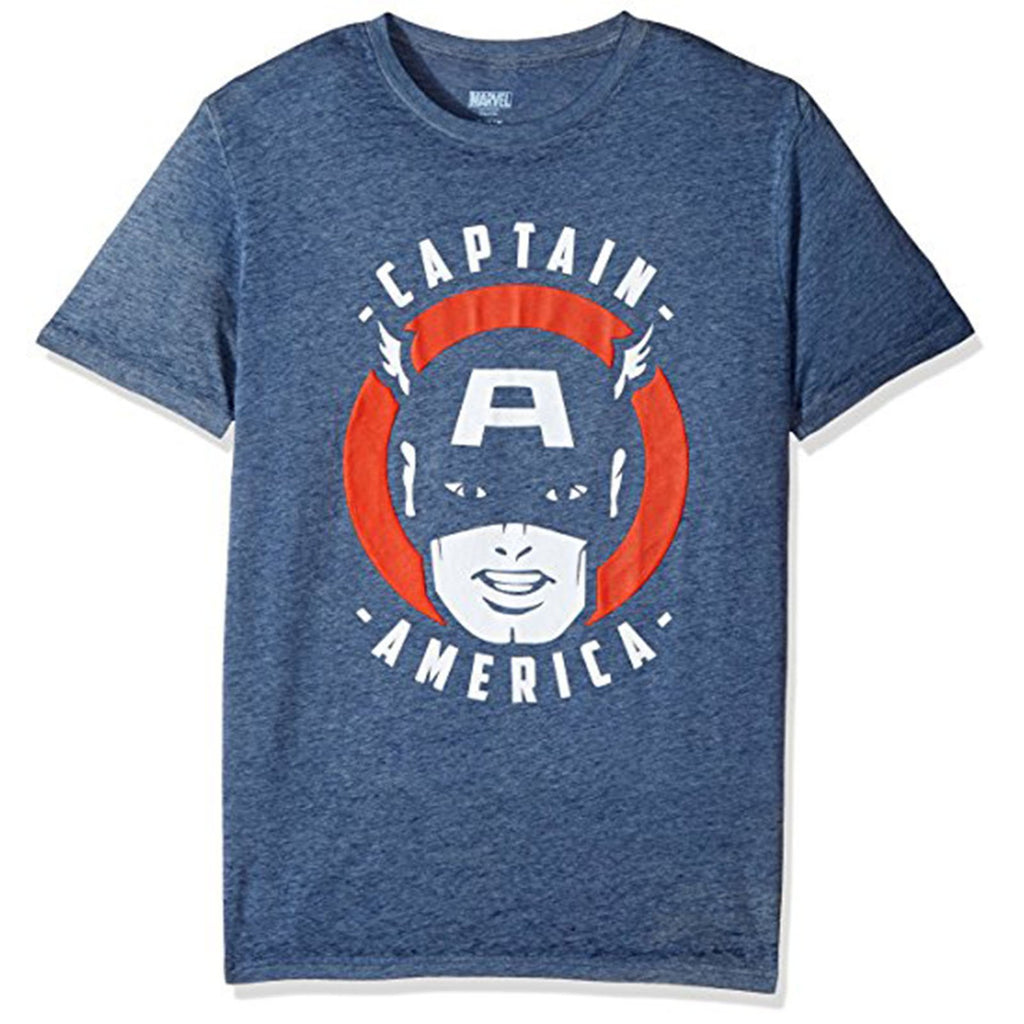 Marvel Captain America Navy Blue Retro Face Men's Tee Shirt