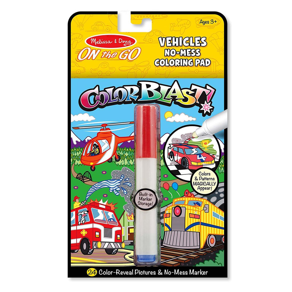 Melissa And Doug On The Go Color Blast Vehicles Coloring Pad
