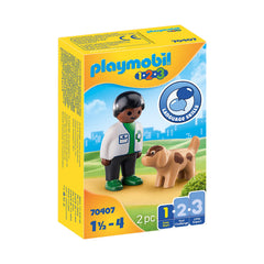 Playmobil 123 Vet With Dog Building Set 70407