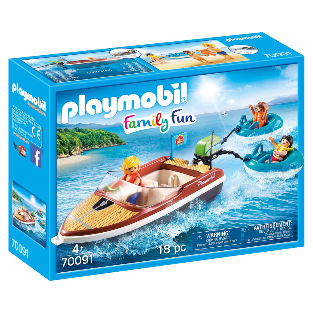 Playmobil Family Fun Speedboat With Tube Riders Building Set 70091