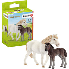 Schleich Farm World Pony Mare And Foal Figure 42423